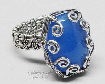 Blue Agate and Sterling Silver Wire Wrapped Ring - CLEARANCE