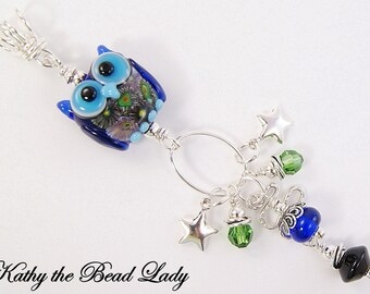 Lampwork Pendant - Night Owl Lampwork Sterling Silver Wire Wrapped Pendant - KTBL