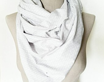 Scarves, Scarf, Women's Scarves, Cotton Scarves, Gray and White, Handmade Scarves, Boho Style, Summer Scarves, Bandanna Style Scarves
