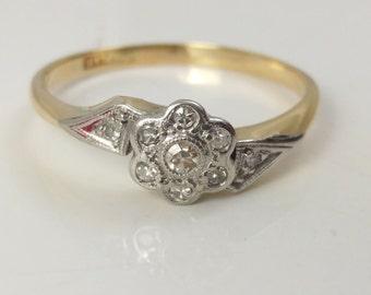 Art Deco diamond cluster twist ring 18 carat gold & platinum size R 1/2 0.20cts