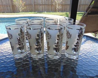 Starlyte Silver Leaf Frosted Drinking Glasses Set of Four