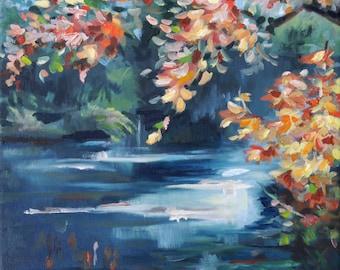Art, landscape pictures, Rheinaue, river landscape, oil painting, murals