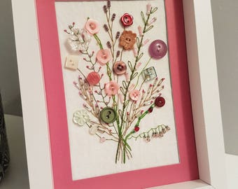 Pink Floral Bouquet Embroidered Artwork, Textile Art