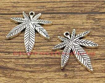 20pcs Leaf Charm Weed Charms Antique Silver Tone 22x25mm cf2560