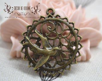 QDW021 pendant, bird, leaf, tree, bronze