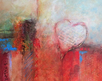 Abstract painting, with heart, unique piece, acrylic, mixed media, abstract painting, acrylic, 20 x 20 (51 cm x 51 cm)