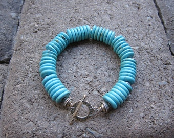 Chunky Turquoise Disk and Silver Bracelet