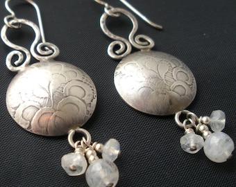 Embossed Sterling Disc and Moonstone Earrings