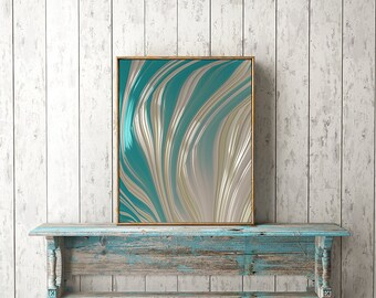 FINE ART PRINT - Turquoise and White Fractal Art - spring and summer wall decor