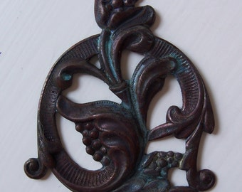 Vintage Oxidized Brass Art Deco Floral Stamping