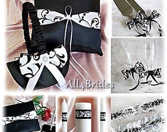 Black White Damask Wedding Basket, pillow, guest book, garter, candle, cake set, flutes, black and white damask 14pc set