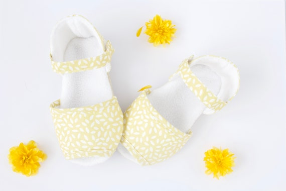 lemon and white summer sandals. baby girls crib shoes. baby shower gift