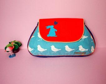Vegan Rabbit Clutch Purse Cute Bunny Bag Bunny Purse Bunny Hearts Love Handcarry Flap Purse White Sparrows On Turquoise Blue Fabric Print