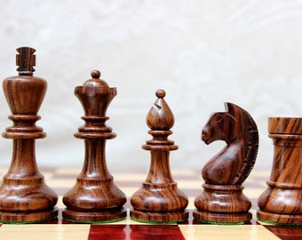 "Hand made Modern Knight Chess Pieces in Rosewood and Boxwood - 3.75"" Spend 200 dollars get 20%, 250 dollars get 30 percent"