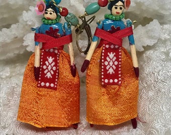 Exquisite Lilygrace Original Handmade Frida Kahlo Doll, Coral, Turquoise and Vintage Silk Earrings