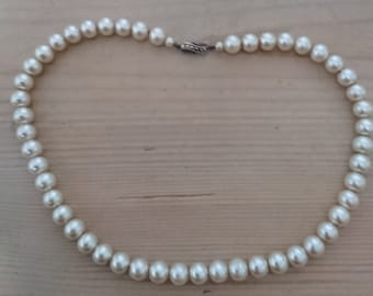 Vintage glass pearls with sterling silver marcasite clasp