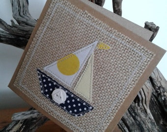 Original Textile Art Hand Made Sailing Boat Greetings Card