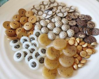 Bulk Buttons Assortment Boho Rustic Mix Brown Neutral 125 Pieces Sets of 7 Designs Wood Plastic
