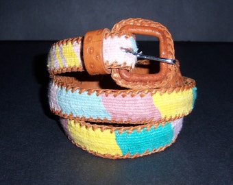 Vintage Guatemala Pastel Pink Green Turquoise Leather Stamped Belt 34 Large