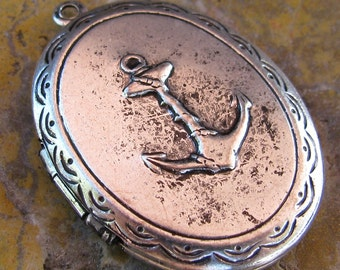 Anchor Oval locket Charms Pendants Antiqued Silver 1120 - 1 Piece