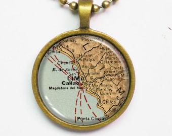 Lima Necklace - Lima of Peru Map- Custom Vintage Map Series