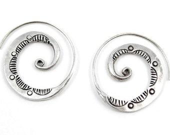 Handmade Tribal Sterling Silver Spiral Hoop earrings, Engraved thick Flat Spiral swirl  Coil Women or Men earrings, Boho ethnic jewellery