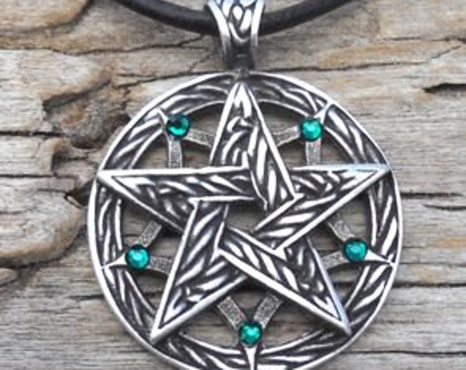 Featured listing image: Pewter Double Pentagram Celtic Pagan Pentacle Pendant with Swarovski Crystal Emerald Green MAY Birthstone (56I)
