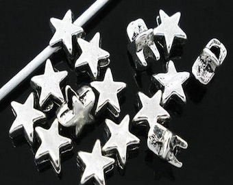 Antique silver metal star beads