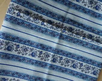 Coupon blue floral stripe fabric