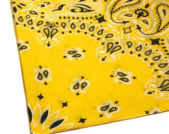 Yellow Bandana for Kids, Men's Handkerchief, Yellow Handkerchief, Bandana for Sewing, Western Party Favor Paisley Handkerchief Bright Yellow