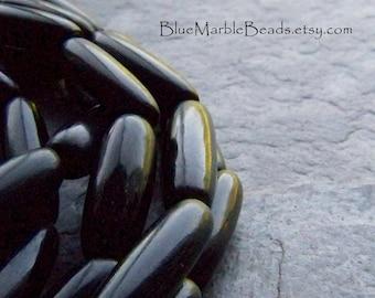 Horn Beads, Black Horn, Rustic Bead, Natural Bead, Boho Bead, Tribal Bead, Oval Bead, Organic Bead, Tube Bead, Bohemian Jewelry, Full Strand