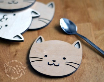 Wood cat coasters - Laser cut cat wood coasters, wooden cat coasters, cat housewarming gift, cat lover, cat decor, wood cat decor, cute cats