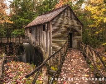 Fall at Cable Grist Mill, Cades Cove, Fine Art Print, Jimmy Pappas Photography