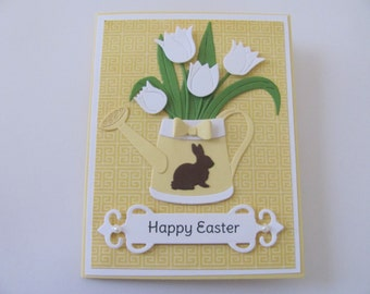 Easter Bunny Tulip Card, Happy Easter Bunny Card, Spring Cards, Bunny Cards,  Happy Easter Cards, Easter Cards, Spring Celebration Card