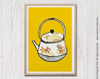Kitchen Wall Art Teapot Art, Teapot Print, Printable Wall Art, Bright Yellow Wall Art, Scandinavian Art, Modern Retro, Scandinavian Print