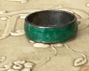 Sterling & Green Enamel Ring Antique Band Size 5