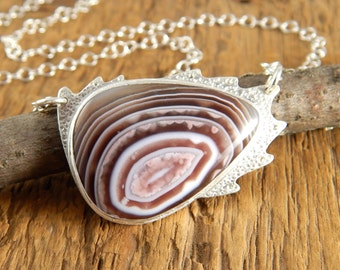 Botswana agate necklace, handmade one of a kind metalwork necklace, stone cabochon ~ 1 x 3/4 inch.