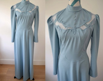 Vintage 1970s Blue Gray Long Sleeved Maxi Dress - Small - Western Style Bridesmaid Blue Wedding Dress Victorian Style