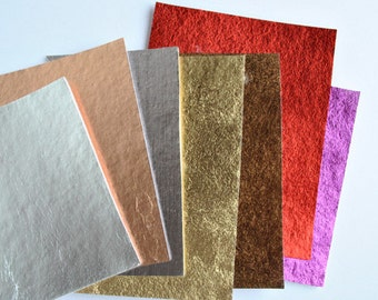 Iron-on metallic material, vinyl iron-on, 3 sheets of 15x24cm - choose your colours
