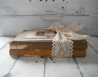book bundle altered books vintage book bundle upcycled brocante rustic chic decor upcycled vintage books shabby decor shelf sitter