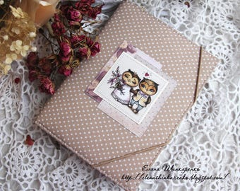 Notepad, Notepad for records handmade, Notebook with owls, Notebook in soft cover, Hardcover, Place for business cards, Scrapbooking