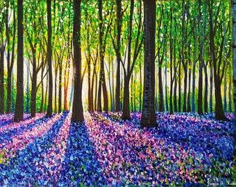 PRINT of A Morning Walk Through Bluebells (8.5 x 11 in. / 22 x 28 cm)