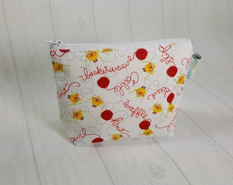 Little Yellow Chicken Knitting, Zipper Notions Pouch, Mini Zippered Wedge Bag, Craft Pouch NP0050