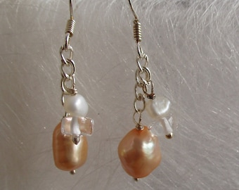 Freshwater Pearl and clear quartz earrings