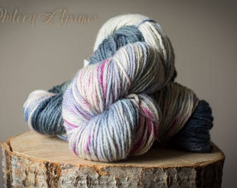 Alpaca yarn hand dyed bulky slate blue, white , pink, 4 ply alpaca yarn