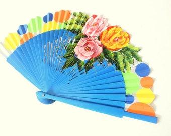 Hand Fans, hand fan, Abanico, turquoise, handpainted
