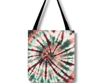Tote Bag-Tie Dye Tote-Shoulder Bag-Green Maroon Pink-Hippie Bag- 13x13, 16x16, or 18x18-Lined, pockets, adjustable strap