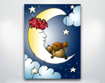 Cat and Moon Sweet Dreams - Fine Art Giclée Print