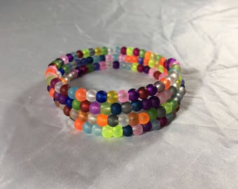 Multi colored beaded bracelet - neon
