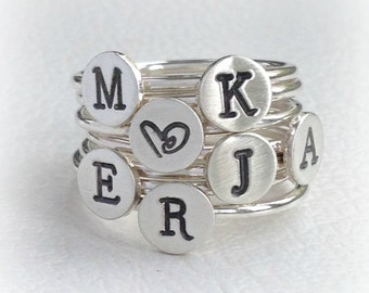 Silver Letter Ring, Hand Stamped Initial Ring, Monogram Stacking Ring